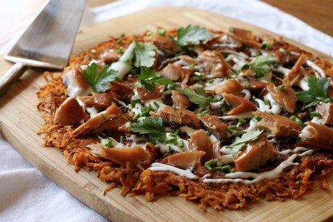 Sweet Potato Rösti with Maple Glazed Smoked Salmon