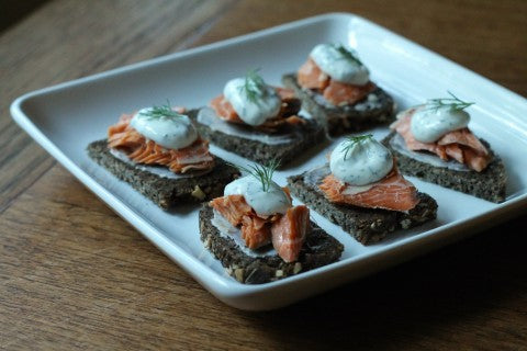 Smoked Sockeye Salmon on Rye Bread with Dill Cream