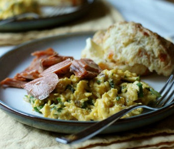 Herby Scrambled Eggs with Smoked Salmon and Lemon Zest Sea Salt
