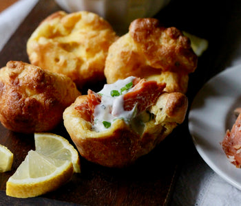 Mini Yorkshire Puddings with SeaChange Smoked Salmon & Lemon-Horseradish Cream