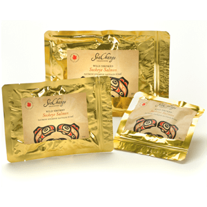 Gold Pouches of Smoked Sockeye Salmon
