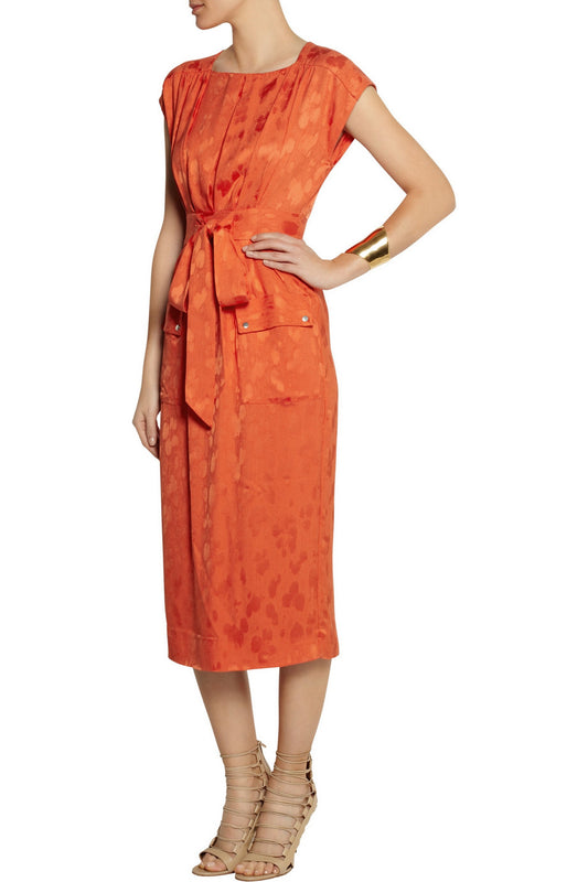 Satin Jacquard Midi Dress