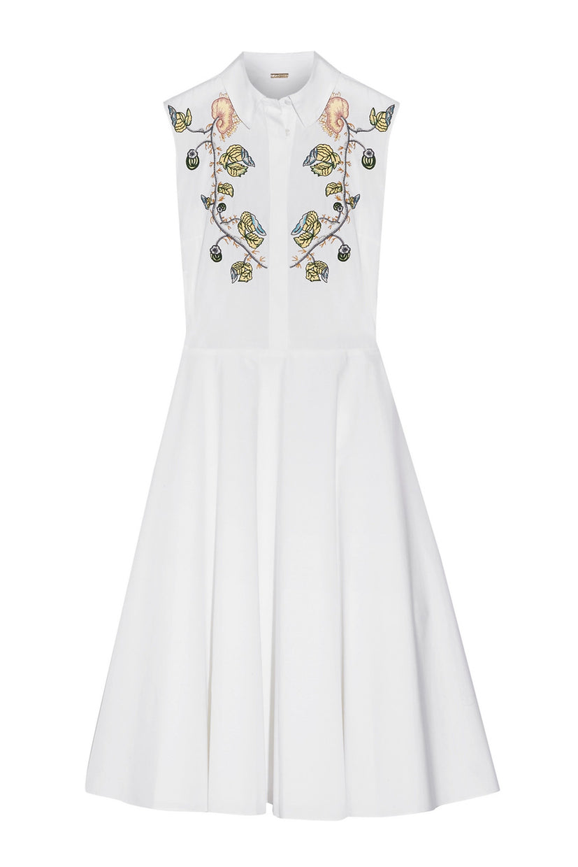 Embroidered Cotton Tea Dress
