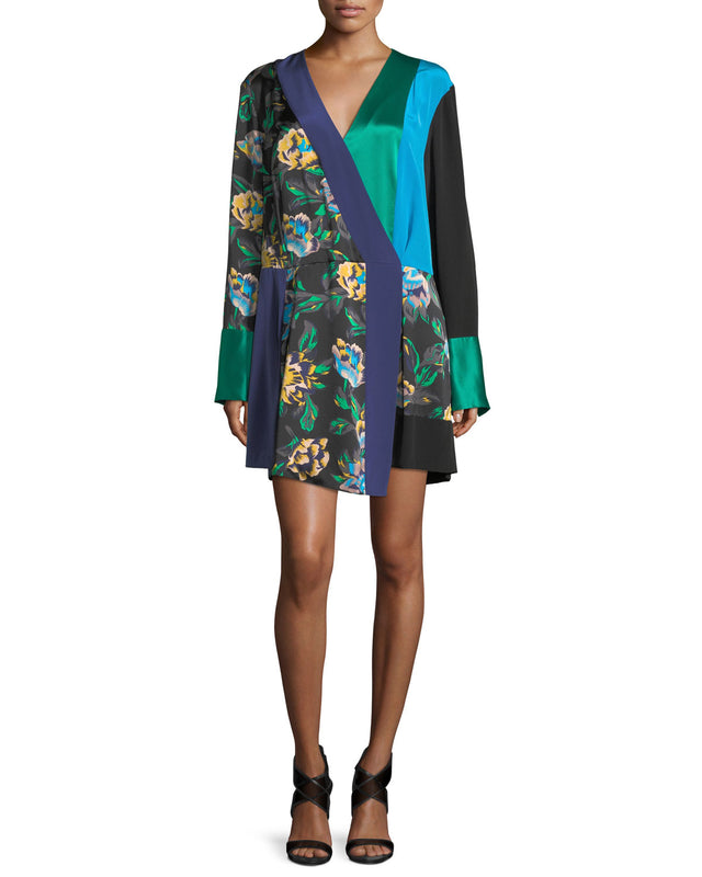 Printed Crossover Wrap Dress