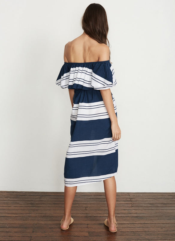 Off Shoulder Striped Midi