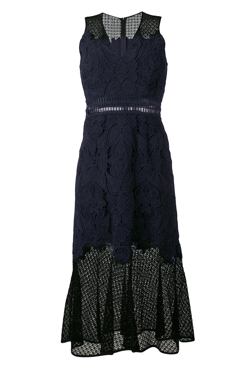 Lace Fluted Hem Dress