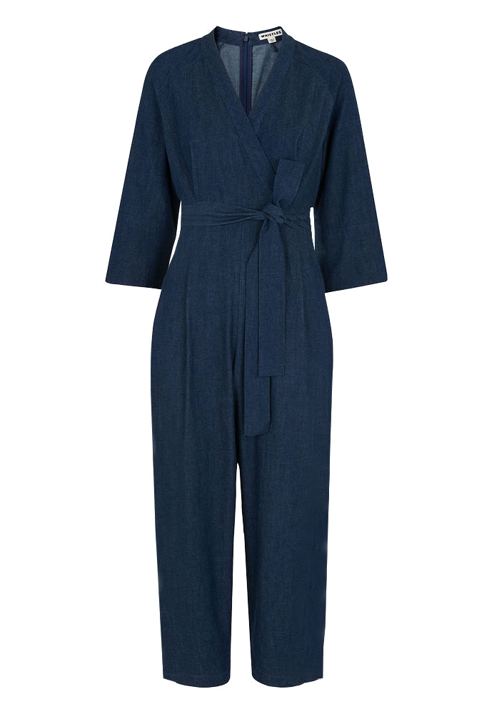 Denim Wrap Tie Jumpsuit