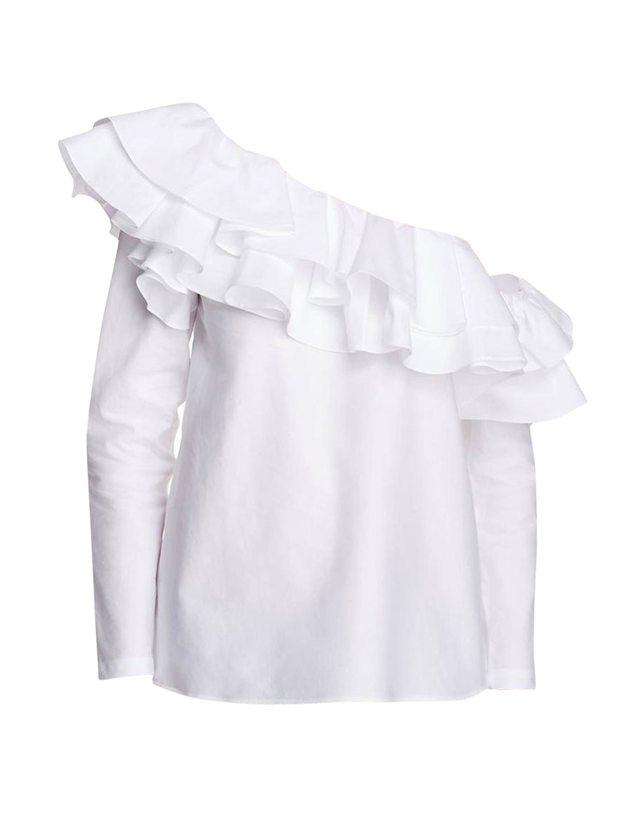 One Shoulder Cotton Ruffle Top