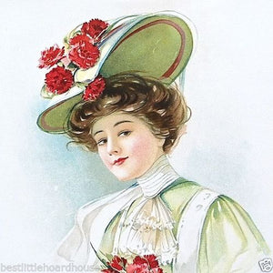 RED CARNATION EASTER HAT Victorian Lithograph Print 1908