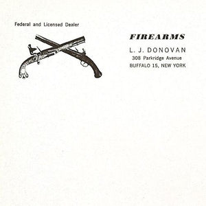 FIREARMS Gun Dealer Letterhead Stationary 1940s