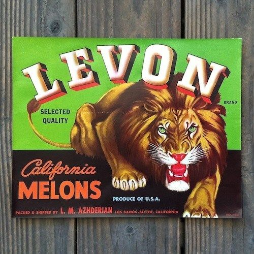LEVON CALIFORNIA MELONS Fruit Crate Box Label 1940s