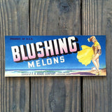 BLUSHING MELONS Pinup Fruit Crate Box Label 1940s
