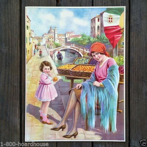 FARMERS MARKET Fruit Stand Lithograph Print 1920s