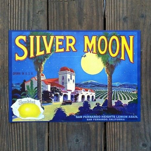 SILVER MOON Sunkist Lemon Citrus Crate Label 1930s