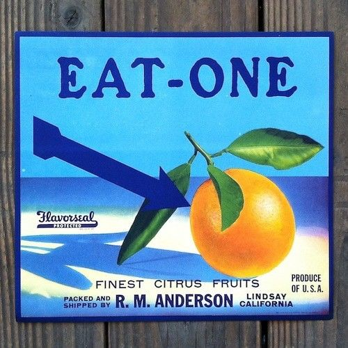 EAT-ONE ORANGE Citrus Crate Box Label 1930s