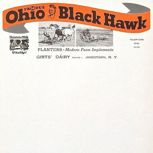 10 OHIO BLACK HAWK Letterhead Stationary 1930s