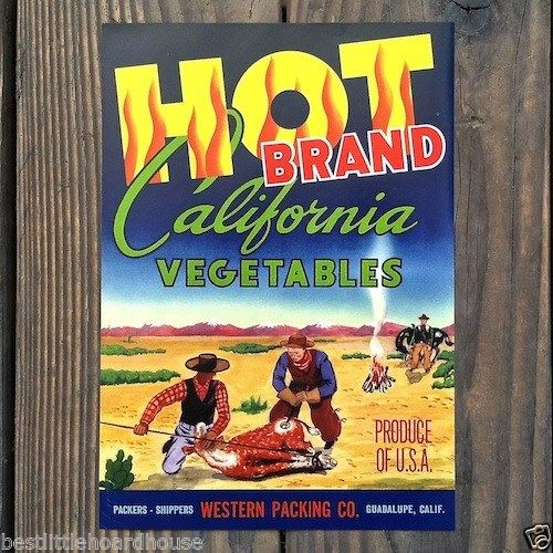 HOT BRAND CALIFORNIA VEGETABLE Crate Box Label 1950s