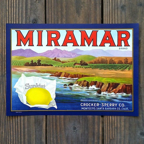 MIRAMAR SUNKIST LEMON Citrus Crate Box Label 1940s