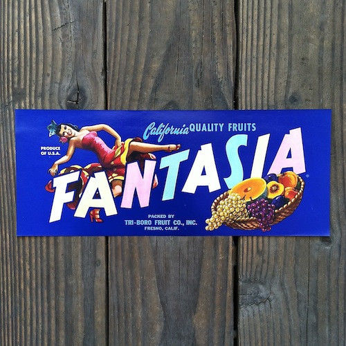 FANTASIA California Fruit Crate Citrus Box Label 1940s