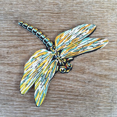 DRAGONFLY INSECT Diecut Cardboard Sign 1950s