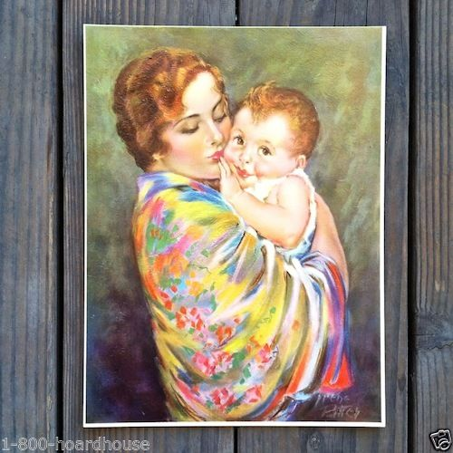 IRENE PATTEN 1929 Mother Child Art Lithograph Print