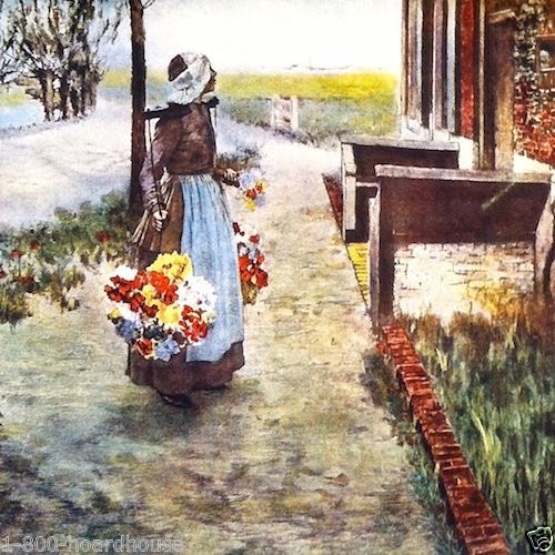 DUTCH FLOWER GIRL Art Lithograph Print 1920s