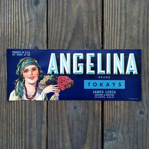 ANGELINA Fruit Crate Citrus Box Label BLUE 1940s