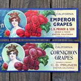 VALLEY QUEEN EMPEROR GRAPES Fruit Crate Box Citrus Labels