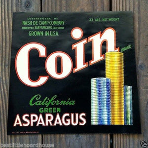 COIN ASPARAGUS Vegetable Crate Box Label 1950s