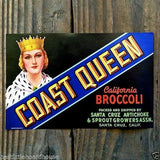 COAST QUEEN CALIFORNIA BROCCOLI Vegetable Crate Label
