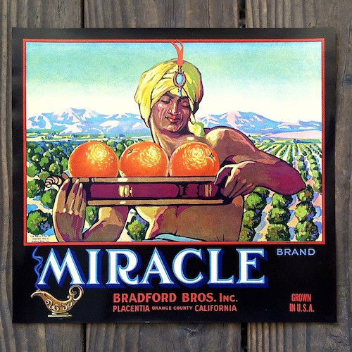 MIRACLE ORANGE Citrus Crate Box Label 1920s