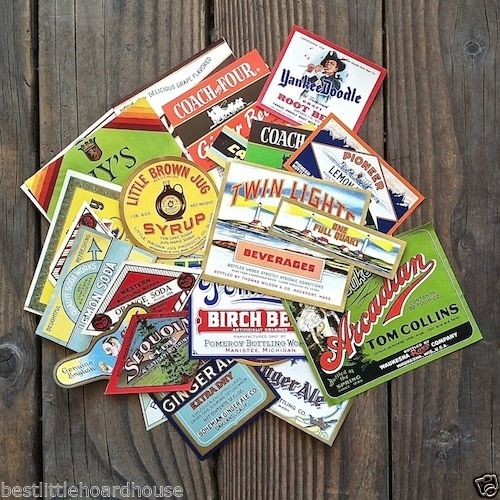 100 HOARDHOUSE SODA Bottle Labels 1890s-1950s