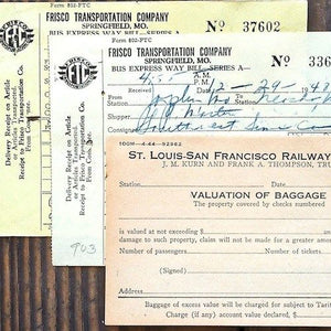 RAILROAD BAGGAGE Transportation Receipts 1940s