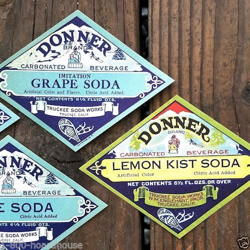 DONNER SODA Diamond Shaped Bottle Labels 1910s