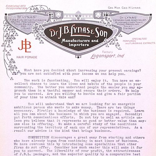 DR. LYNAS & Sons Typewritten Advertising Letter 1910