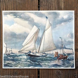 YACHT AMERICA Clipper Ship Lithograph Print 1920s