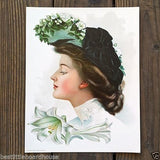 EASTER LILY Victorian Lithograph Pinup Print 1906