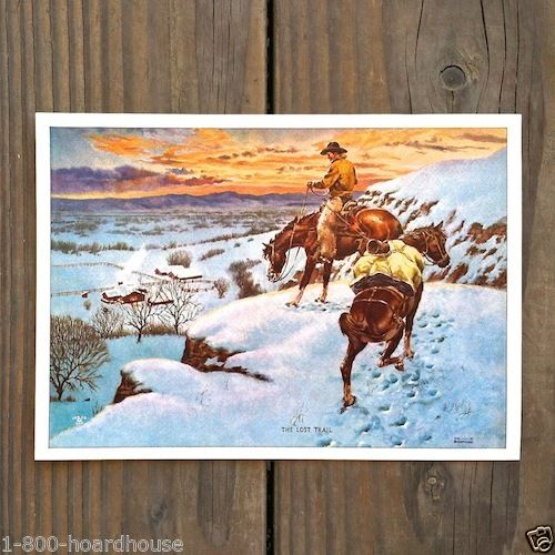 THE LOST TRAIL Western Art Print 1930s