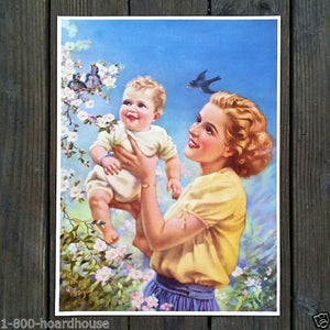 MOTHER WITH BABY Art Lithograph Print 1920s