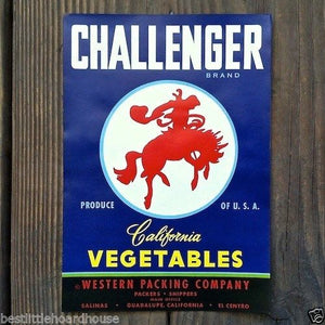 CHALLENGER Vegetable Crate Label 1950's
