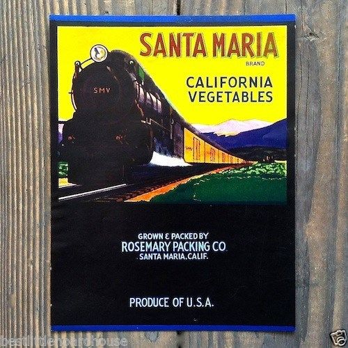 SANTA MARIA CALIFORNIA VEGETABLE Box Crate Label 1950s