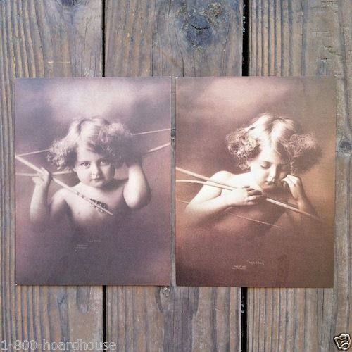 CUPID AWAKE & ASLEEP Lithograph Art Prints 1940s