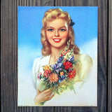 JUST FOR YOU Pinup Girl Lithograph Print