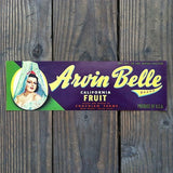 ARVIN BELLE California Fruit Crate Box Label 1940s