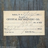 CRYSTAL ICE DELIVERY Ticket 1940s