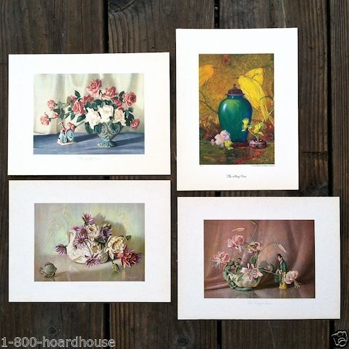 FLOWERS IN VASES Art Lithograph Card Prints 1940s