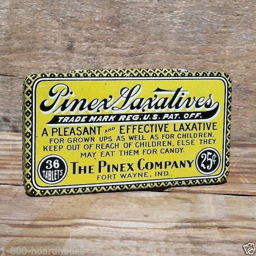 PINEX LAXATIVES MEDICAL Pharmacy Medicine Tin 1900s