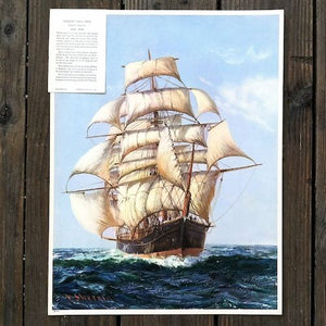 UNDER FULL SAIL CLIPPER SHIP Print Advertising Poster 1936