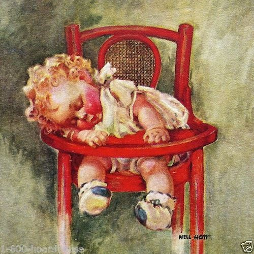FORTY WINKS Baby Sleeping Highchair Litho Print 1930s