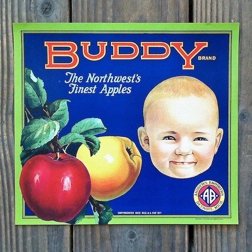 BUDDY APPLES Fruit Crate Box Label 1920s